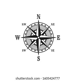 Navigation marine compass or Wind Rose vector icon. Isolated symbols of nautical retro navigator compass with winds names of East, West, North and South arrows for ship travel design