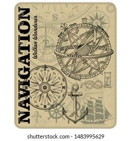Navigation maritime vector design. Nautical design. Navy illustration. Ocean wallpaper. Sailboat, anchor, steering wheel, marine rope knot, vintage marine compass and Armillary Sphere, vector illustra