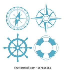 Navigation maritime vector icon set illustration isolated on white background. Marine abstract vector icon.