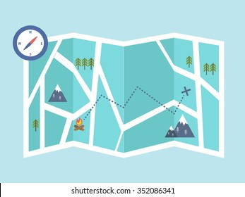 navigation and outdoor adventures. map location. vector illustration