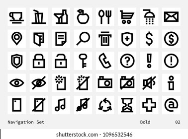 Navigation pictograms collection. Clean contour inforamtive line icons on white square