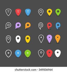 Navigation pins flat design collection