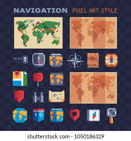 Navigation pixel art 80s style icons set: map, compass, spyglass, magnifier, binoculars and pin pointer isolated vector illustration. Design for web, app, logo, sticker. Game assets 8-bit sprite sheet