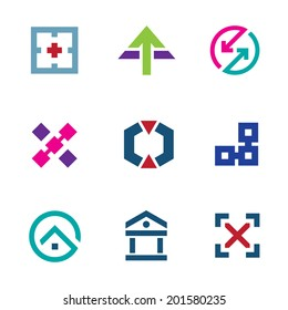 Navigation positioning menu bar startup logo business flexible icon set