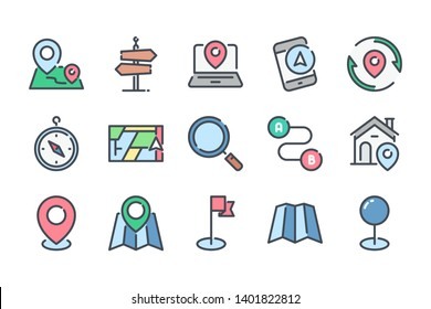 Navigation related color line icon set. Location and direction colorful linear icons. Destination flat color outline vector signs and symbols collection.