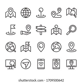 Navigation road location destination line icon isolated simple set. Vector graphic design concept