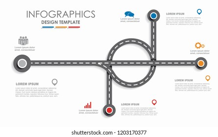 Navigation roadmap infographic timeline concept with place for data. Vector illustration.