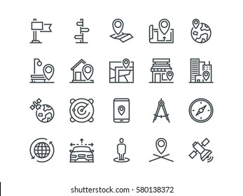 Navigation. Set of outline vector icons. Includes such as Satellite, Index, Map and other. Editable Stroke. 48x48 Pixel Perfect
