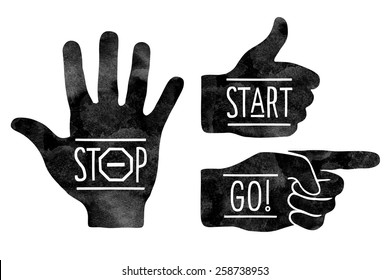 Navigation signs. Black hands silhouettes - pointing finger, stop hand and thumb up. Stop, Start, Go. Vector illustration