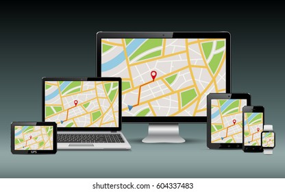 Navigation template. GPS map on display of modern digital devices.