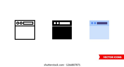 Navigation toolbar icon of 3 types: color, black and white, outline. Isolated vector sign symbol.