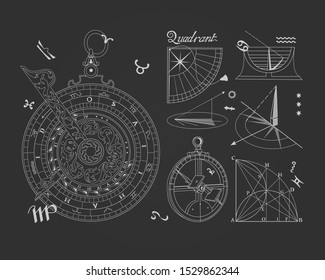 Navigation tools of medieval inventors. Monochrome contour drawing.