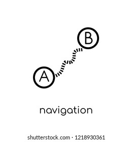 Navigation trajectory icon. Trendy modern flat linear vector Navigation trajectory icon on white background from thin line Maps and Locations collection, editable outline stroke vector illustration