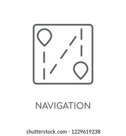 Navigation trajectory linear icon. Modern outline Navigation trajectory logo concept on white background from Maps and Locations collection. Suitable for use on web apps, mobile apps and print media.