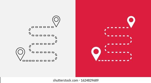 Navigation vector icon. GPS navigation icon. Distance Travelling Roadway. Outline and filled icons set