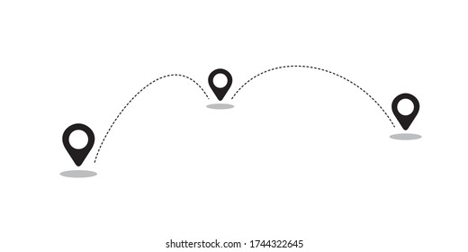 Navigation vector illustration, simple black and white location icons for delivery service. Fast shipping products. Minimal monochrome graphic isolated on white. Domestic and International business.