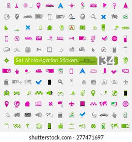 navigation vector sticker icons with shadow. Paper cut
