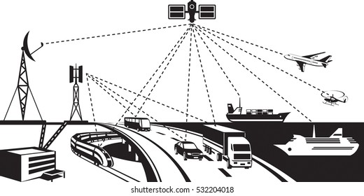 Navigation and vehicle tracking - vector illustration