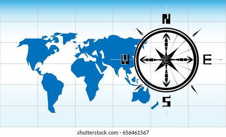 Vector World Map Stylized Compass Stock Vector Royalty Free