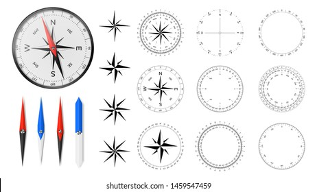Navigational compass with set of additional dial faces, wind roses and directional needles