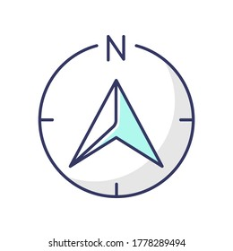Navigator arrow RGB color icon. Modern navigation technology, global positioning system, geolocation. GPS guide cursor pointing to north isolated vector illustration