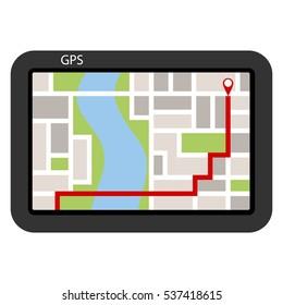 Navigator, navigator icon, search route, location. Flat design, vector.
