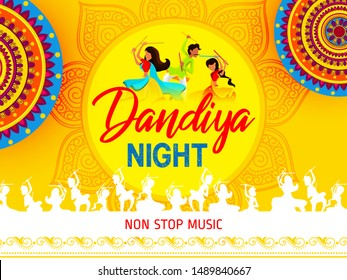 Navratri 2019 design for dandiya night celebration with decorative element and background with text