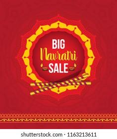 Navratri Festival Big Sale Background Template Design with Round Floral Design