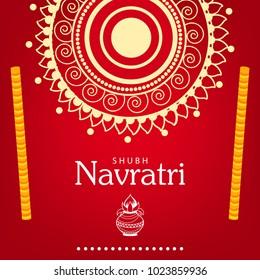 Navratri Hindu Festival Design, Vector Illustration.