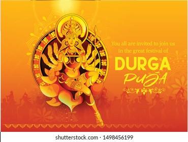 Navratri illustration of Maa Durga in Happy Durga Puja durga face with background