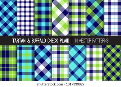 Navy, Aqua Blue and Lime Green Tartan and Buffalo Check Plaid Vector Patterns. Hipster Lumberjack Flannel Shirt Fabric Textures. Pattern Tile Swatches Included.