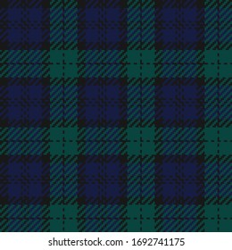 Navy, Black, & Green Twill Weave Plaid Seamless Vector Illustration