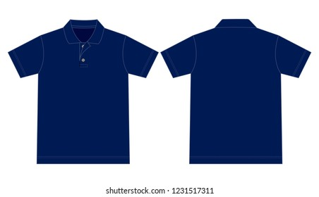 Navy Blank Polo Shirt for Template : Flat View