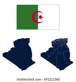 Navy Blue Algeria Map and Flag isolated on white background. vector illustration Eps10.