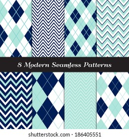 Navy Blue, Aqua and White with Dashed Accent Lines Argyle and Chevron Seamless Patterns. Navy and Aqua Nautical or Golf Backgrounds. Pattern Swatches included and made with Global Colors.