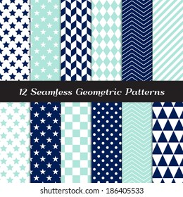 Navy Blue, Aqua and White Geometric Seamless Patterns. Nautical Backgrounds in Diamond, Chevron, Polka Dot, Checkerboard, Stars, Triangles, Herringbone & Stripes. Pattern Swatches with Global Colors.