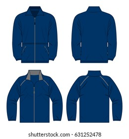 Navy blue autumn, spring fleece jacket set isolated vector front and back for promotion advertising