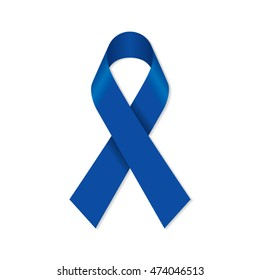 Navy blue awareness ribbon for Colon Cancer and Colorectal Cancer symbol.