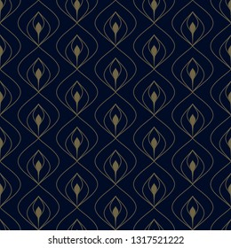 Navy blue background ditsy floral peacock feather motif small flower allover ogee design. Simple geometric chain print block for brocade dress fabric, decoupage paper, fashion garment, apparel textile