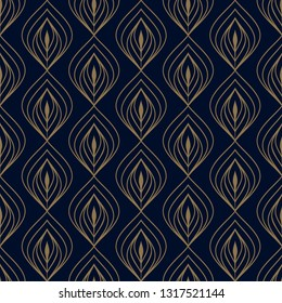Navy blue background ditzy floral peacock feather motif. Small flowers all over ogee design. Simple geometric print for fabric cloth, decoupage paper, fashion textile accessories, interior wallpaper.