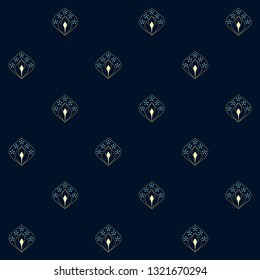 Navy blue background ditzy floral peacock eye feather motif. Vintage indian small paisley leaves allover design. Simple geometric print block for fabric cloth, textile accessories, interior wallpaper.