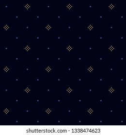 Navy blue background ditzy floral motif. Rustic tiny flowers and diamonds all over design. Contrasting colors simple geometric print block for wear fabric, apparel textile, garment, interior wallpaper