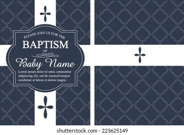 Navy Blue Boy's Baptism/Christening Invitation with Quatrefoil background - vector