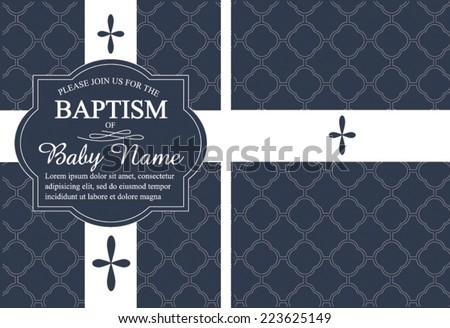 Navy Blue Boys Baptism Christening Invitation Quatrefoil Stock
