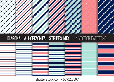 Navy Blue, Coral Pink, Aqua Diagonal and Horizontal Stripes Vector Patterns. Girly Nautical Pastel Striped Backgrounds. Pin and Candy Stripes. Variable Thickness Lines. Pattern Tile Swatches Included.