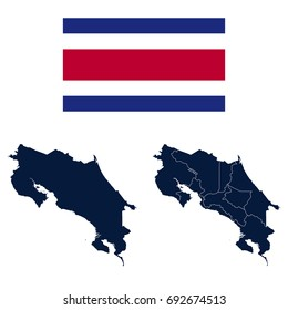 Navy Blue Costa Rica Map and Flag isolated on white background. Vector illustration eps 10.
