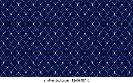 Navy blue dark pattern. Deep royal seamless ornament for little prince party. Wrapping paper, textile, fabric, print. Kitchen mat, luxury classic style, men's design. Vector king background.