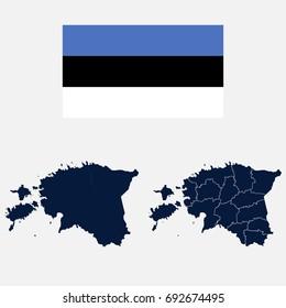 Navy Blue Estonia Map and Flag isolated on white background. Vector illustration eps 10.