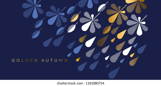 Navy blue and gold geometric fall leaves and rain drops pattern. Geometry concept autumn elegant element for card, invitation, banner, web, header, page, cover, billboard, brochure.