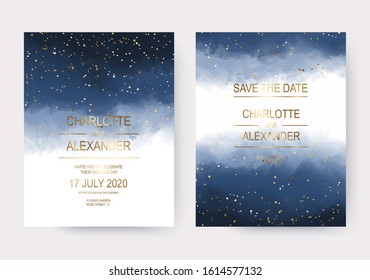 Navy blue gradient watercolor wedding invitation cards with gold dust confetti.